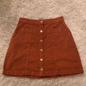 Urban outfitters mini tan button up skirt suede